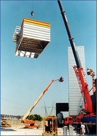 Grain dryer by Tecnograin: Assembling stage of a grain drying column