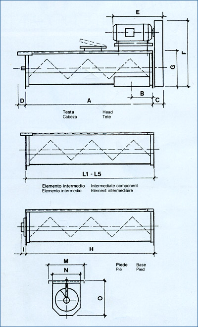 Grain auger conveyor technical drawing by Tecnograin